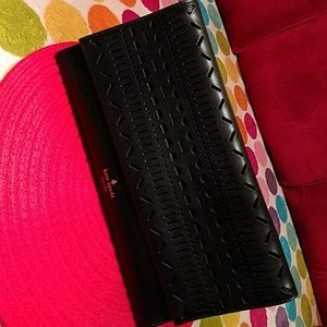 Authentic NWO Kat Spade black thick leather clutch
